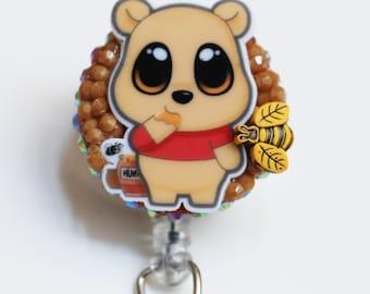 Winnie The Pooh Big Eyes ID Badge Reel - Retractable ID Badge Holder - Zipperedheart