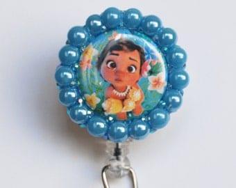 Disney Baby Moana ID Badge Reel - Retractable ID Badge Holder - Zipperedheart