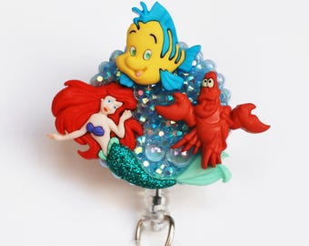 Little Mermaid And Friends ID Badge Reel - Retractable ID Badge Holder - Zipperedheart