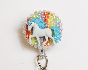 Lovely Unicorn ID Badge Reel - Retractable ID Badge Holder - Zipperedheart