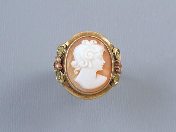 Vintage Art Deco signed JJ White multicolor 10k gold cameo ring, size 4-3/4