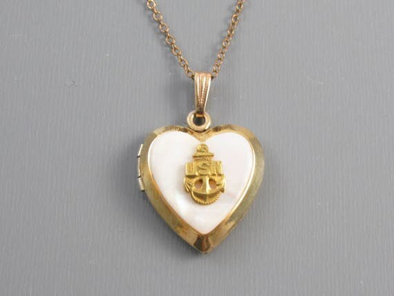 Vintage gold filled on silver WW2 military sweetheart US Navy mother of pearl heart shaped locket pendant necklace