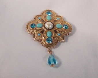 Gold tone Brooch with Faux Turquoise Cabochons, Faux Pearl and Faceted Rhinestones. OOAK
