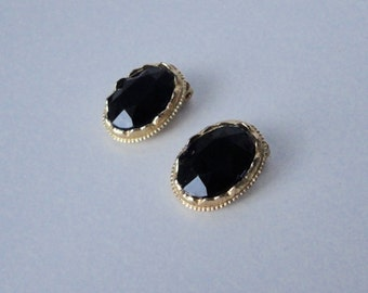 Gold Tone  with Black Faceted Oval Rhinestone  KRAMER Earrings. 1960's Unsigned Kramer.