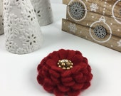 RESERVED FOR GINA - Red Red Felted Cashmere Wool Pin Flower with Gold Beaded Earring Center