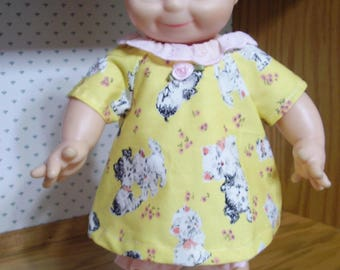 13-17 inch Yellow Puppies Doll Dress