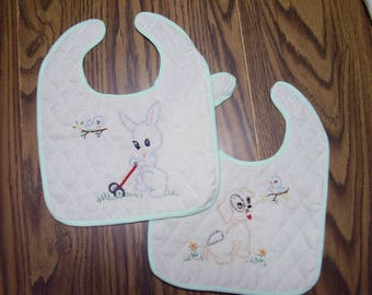 Pair of vintage Inspired Embroidered Baby Bibs