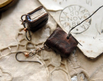 Literary Lobes - Miniature Leather Book-Earrings, Tea Stained Pages, Trinket Box, OOAK
