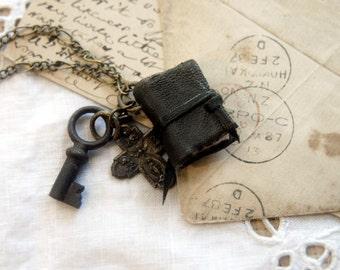 The Trinketeer - Miniature Wearable Book, Tiny Vintage Key & Cross, OOAK