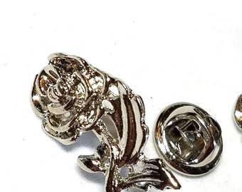 Rose Tack Pin Silver Tone Flower Vintage  2 Pins