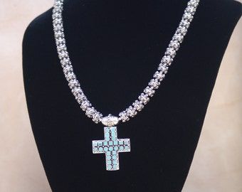Sterling Silver and Turquoise Cross Pendant Necklace