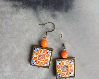 Earrings Portugal Tile Azulejo Portuguese Antique Orange FRAMED  OvAR  (see photo of Facade)  WaTERPROOF Reversible Talavera Ceramic  218b