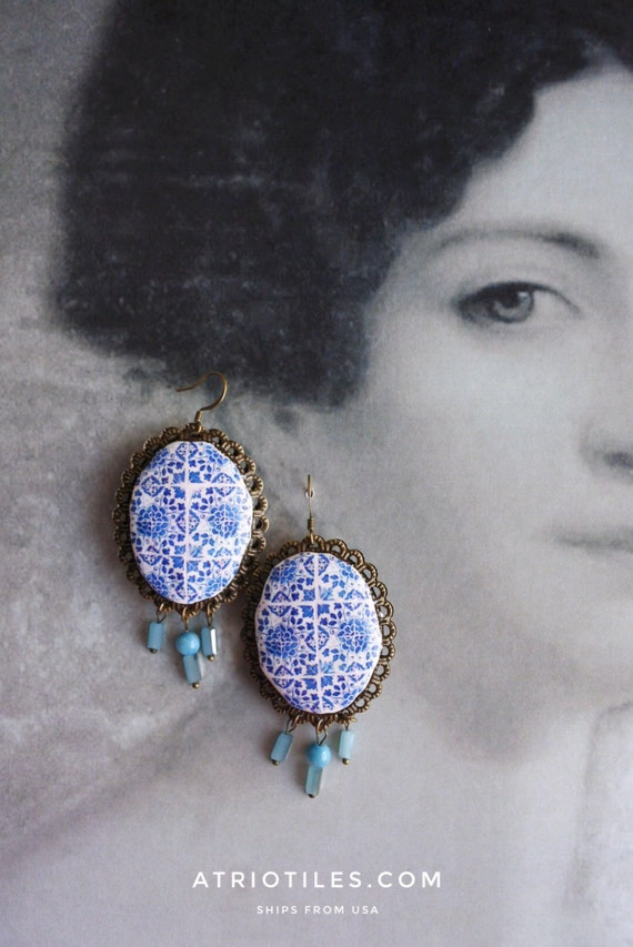 Portugal Antique 16th Century Azulejo Tile Earrings from Tomar Cloister - Convent of Christ built in 1160 - Camellias Bohemian Reversible