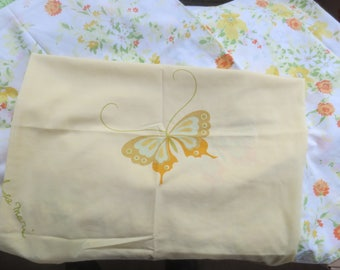"REMIX 3 Pillowcases / STANDARD Pillow Size / Butterflies and Floral Design / 42 x 46"" / Hanae Mori Buttefly / Montgomery Ward Percale Floral"