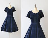Vintage 1950s Dress Two Piece Set / Swing Skirt and Top  / Velvet / Sapphire