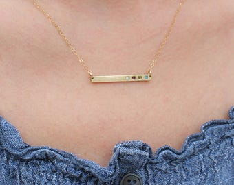 Gold Bar Necklace with Birthstones, Delicate Gold Birthstone Bar Necklace. Personalized Family Mothers Birthstone Necklace. GRATITUDE