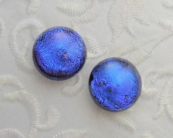 Blue Earrings - Dichroic Fused Glass Earrings - Dichroic Earrings - Bead Findings - Stud Earrings - Post Earrings 1207