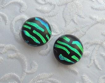 Emerald Green Earrings - Dichroic Fused Glass Earrings - Dichroic Earrings - Bead Findings - Stud Earrings - Post Earrings 1241