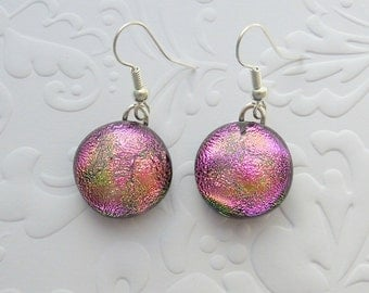 Pink Earrings - Fused Glass Round Earrings - Dichroic Fused Glass Earrings - Button Earrings - Dangle Earrings X7485