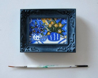 Blue Still life acrylic painting on canvas, Original art, Yellow Tulips, Daisies, shabby blue frame, 3  x 4, French Country decor, gift idea