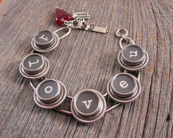 Typewriter Key Jewelry - I Love You Bracelet - LOVE Themed Jewelry - Type Key Bracelet  - Gift for Her