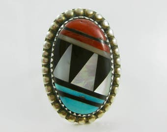 Size 8 1/4 Vintage Multi Inlaid Stone Turquoise Red Coral Sterling Silver Ring