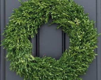Simple Boxwood Wreath, Year Round Wreath, Outdoor Door Wreaths, Wreaths, Green Boxwood Wreaths, Artificial Boxwood Wreath, Faux Boxwood