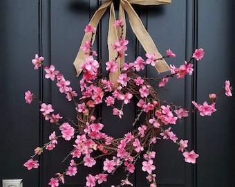 Pink CHERRY BLOSSOMS, Cherry Blossom Wreath, Pink Flower Wreath, Cherry Trees,  Blossoming Cherry Trees, Spring Blossom Wreath