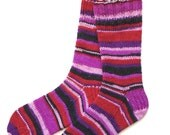 Handknit Socks for Women and Girls, Ladies Socks, Knit Socks, striped socks, multicolor socks, red, pink, black socks, one of a kind