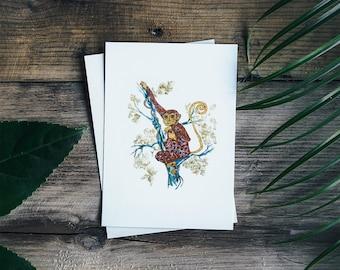 Matted Monkey - Monkey art print- limited edition print // Home Decor