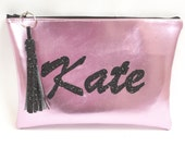 Custom Made Personalised Vegan Leather Clutch Purse Cosmetic Makeup Bags