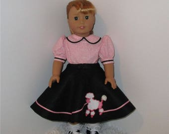 "Black Poodle Skirt and Pink Blouse, Fits 18"" Dolls // AG Doll Clothes, AG Circle Skirt, American Girl 1950s Dress, Doll Retro Skirt, Felt"