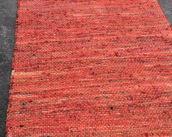 Large Handwoven Cotton Rag Rug. Reds on one side. Golds and Oranges on the Other Side