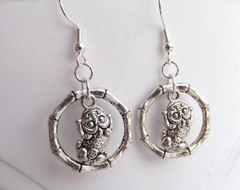Good Luck Pi Yao Pi Xiu Charm Bamboo Silver Earrings