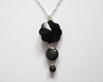 Onxy Necklace, obsidian, jet black necklace, pendant drop necklace