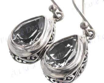 """1/2"""" Design Teardrop White Clear Quartz Sterling Silver Earrings"""