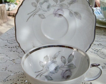 "Harmony China Tea Cup & Saucer ""Spring Song"" Platinum Trim Bavarian"