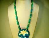 Lovely Mother of Pearl Flower Pendant on Turquoise Bead Necklace, 1980s, Enamel and Inlay Shell Design, Southwestern Pueblo Influence