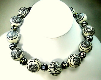 Chinese Asian Porcelain Happiness Necklace, Black on White Large Round Bead Choker, OOAK Design by Rachelle Starr