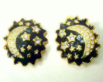 SUN, Crescent Moon and Stars CLIP Earrings, 1980s Glass, Metal,  Cool GYPSY Boho, Tarot Reader, Fortune Teller Gift, Horoscope