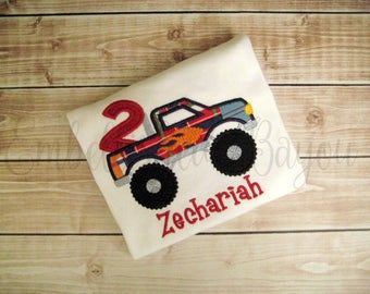 Personalized Appliqued Monster Truck Birthday T-shirt for Boys