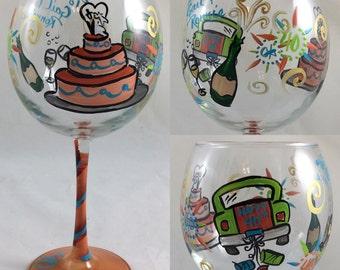 40th Anniversary Hand Painted wine glass
