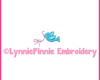 Tiny Bird with Bow Mini Embroidery Design 4x4 Machine Embroidery Design