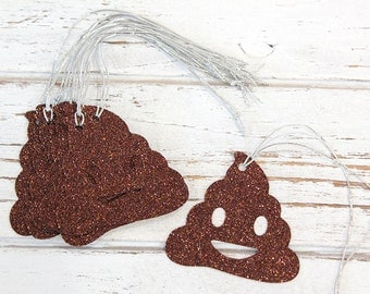 Poop Emoji Gift Tags - Set of 10 - glitter gift tags