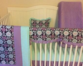 Baby Girl Crib Bedding Set Bumperless Purple Lavender Mint Aqua Floral Ready to Ship