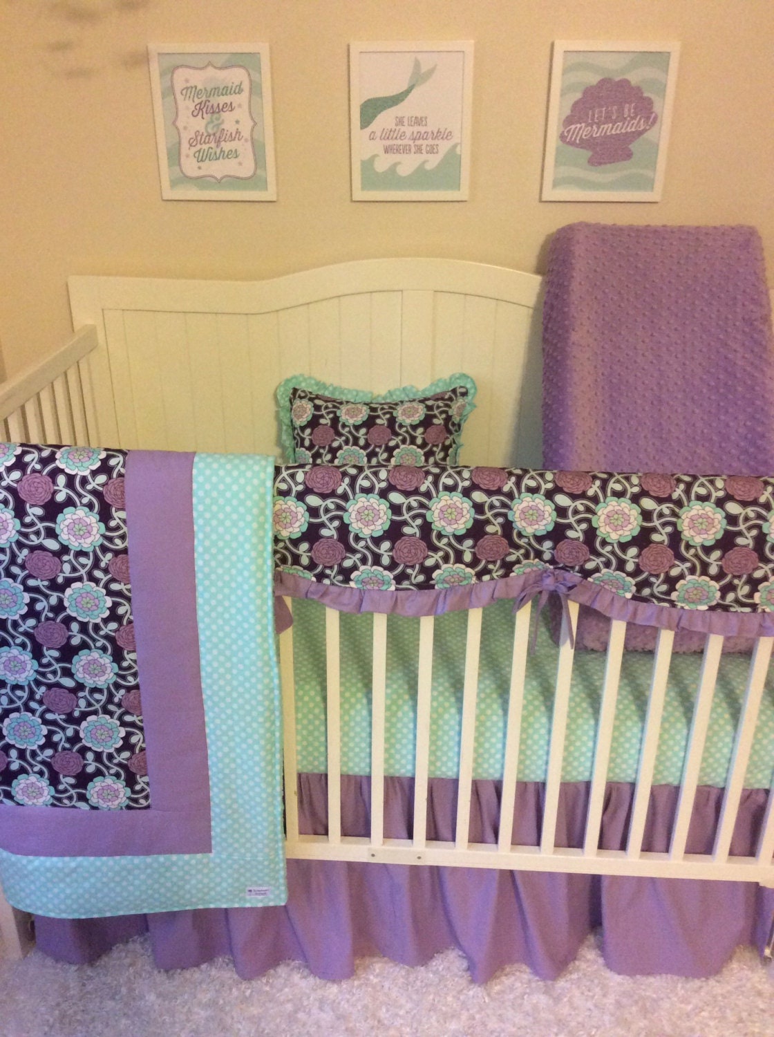 baby girl purple and mint crib bedding set by butterbeansboutique. Black Bedroom Furniture Sets. Home Design Ideas