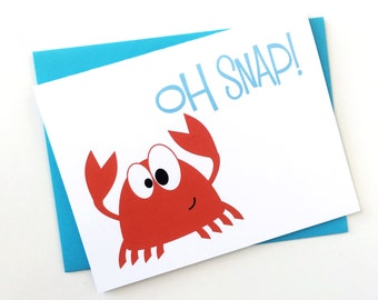 Red Crab Nautical Baby Shower Card, Funny Card for Kids All Occasion Congratulations Card Blank Nautical Birthday Card for Boy Stationery