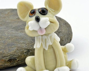 GINNY the  Lampwork Glass Bead Cat, Glass Sculpture Collectible, Focal Bead, Izzybeads SRA