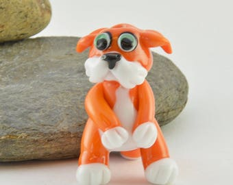 SHY Simon, Ginger Cat, Orange Cat  Lampwork Glass Bead, Glass Sculpture Collectible, Focal Bead, Izzybeads SRA