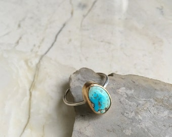 Nevada Minined Mini Turquoise Ring. Size 6.5 small stone ring. Boho ring. Stone Stacking Ring. Sterling Band. Thin band. Small stone ring.